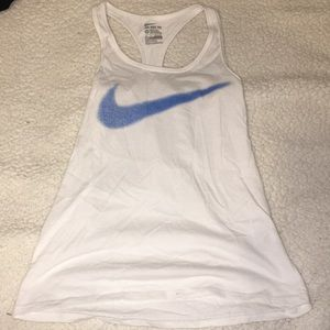 Nike WORN ONCE white and blue check tank sz: XS